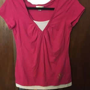Pink and white v neck tee super Y2K